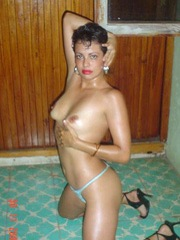 Sexy latin wife shows her firm breasts