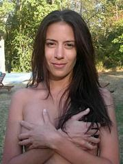 Cute gf with small breasts topless..
