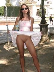 Upskirt pics of gf flashing her pussy..