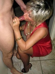 Masked mature wife sucking big cock in..