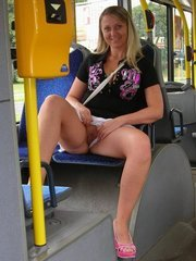 hottie flashing sweet pussy in the bus