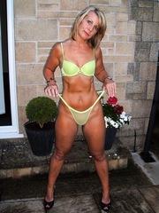 Naughty blonde mom displays her big..