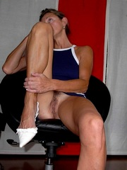 MILF teasing upskirt no panties in a..